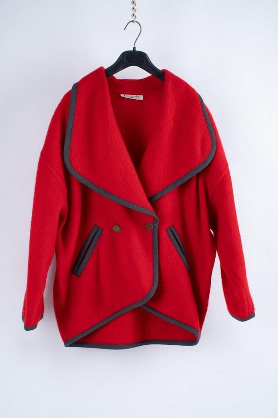 Guy Laroche Red Wool Oversized Jacket, M