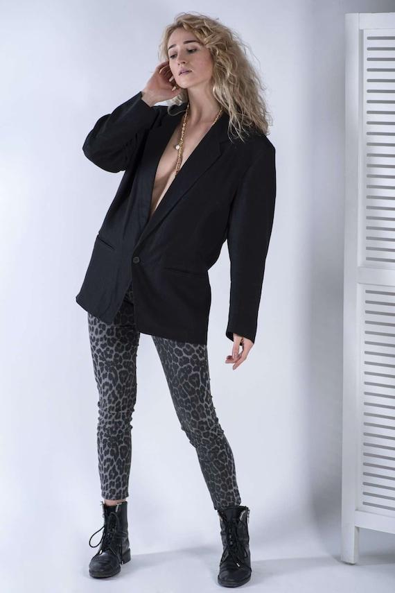 Marimekko Black Linen Women's Blazer Jacket, SIZE
