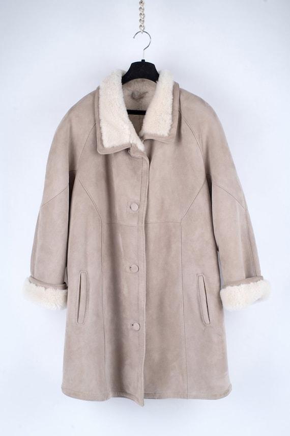 Women's Beige Supple Sheepskin Shearling Coat, 3XL