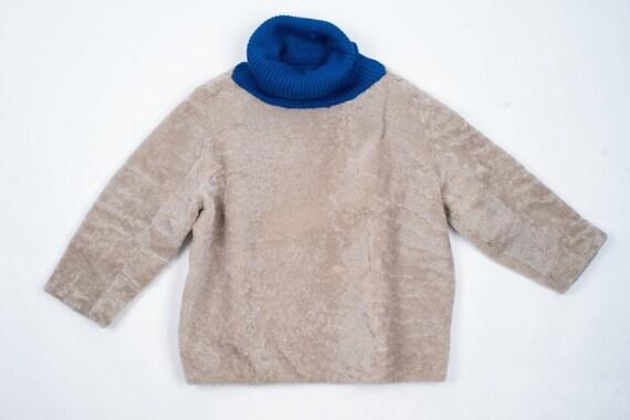 Beige Boxy Cocoon Shape Teddy Sheepskin Jumper