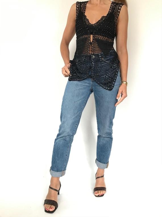 Black Crochet Knit Fishnet Vest