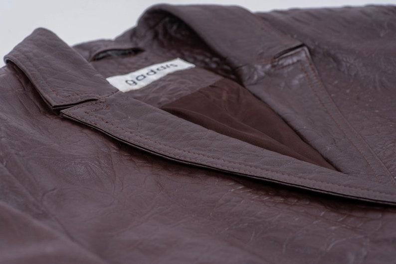 SIZE M Women/'s Soft Leather Crocodile Pattern Brown Blazer