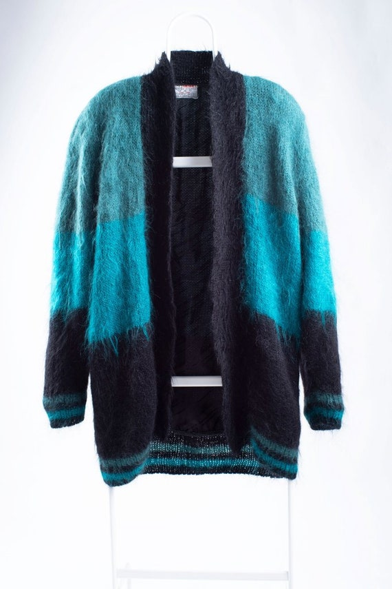 Vintage Colorblock Oversized Green Mohair Cardigan