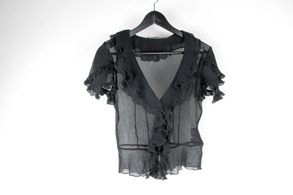 Ralph Lauren Black Sheer Gauze Cotton Button Up Ru