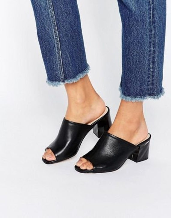 KURT GEIGER Black Block Heel Mules, EU 36, US6, UK