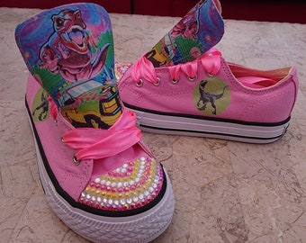 46236fdc0631 Custom Shoes Kids Low Tops Adult High Tops Dinosaur Park Bling Sneakers  Ribbon Personalized Pumps