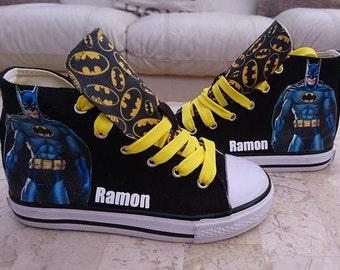 2ed7162d1e712f Custom Kids Shoes Adult Sneakers Ladies Mens High Tops Batman Low Pumps  Superhero Marvel Character Kicks