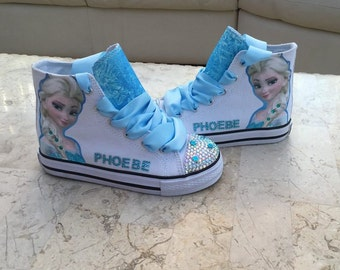 620979e5db6a Custom kids Shoes Personalized Sneakers Frozen Elsa Anna High Tops  Customized Low Pumps Sparkles