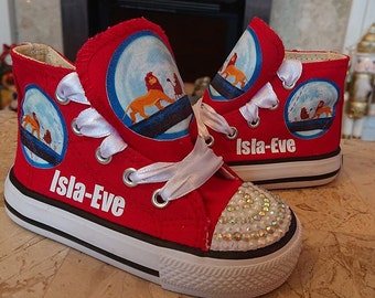 d1dbdba1ca67 Custom Shoes Kids Adult High Top Sneakers Lion King Simba Pumps Canvas Low  Tops Bling Kicks Movie