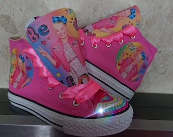 a7357177648a Custom Kids Shoes Jojo Bow Sneakers High Tops Pumps Bling Kicks Personalized  Ribbon