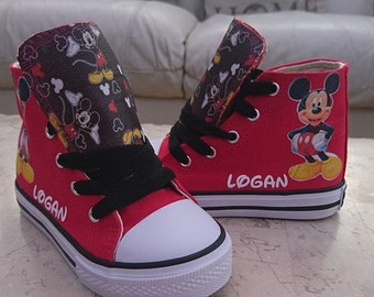 84c74e852c96 Custom Kids Shoes Adult Disneyland Mickey Mouse Sneakers High Tops  Personalized Pumps Name Minnie Mouse