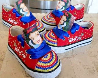 71a729784435 Custom Shoes Kids   Adult Sneakers Pumps Snow White Canvas Low Tops High  Tops Personalized Ribbon Princess