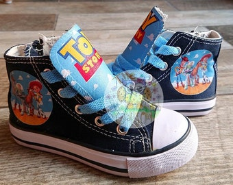 aecd242bf9fc Custom Kids Toy Story Shoes Personalized Sneakers Woody Buzz High Low Tops  Jessie Bullseye Kicks Birthday Pumps