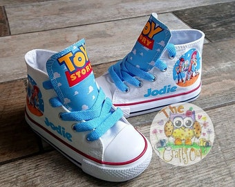 sports shoes 5b191 bb6ad Custom Kids Shoes Toy Story Sneakers Woody Buzz High Low Tops Personalized  Pumps Kicks Jessie Bullseye
