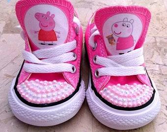 f4eb7f0302b5 Custom Kids Adult Baby Shoes Peppa Sneakers Low Tops Pig Personalised Pumps  Kicks Canvas