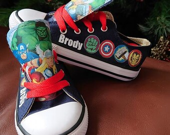 official photos 1c229 c7165 Custom Low Tops Shoes Marvel Superhero Sneakers Personalised Hulk Superman  Spiderman Thor Captain America High Kicks Pumps