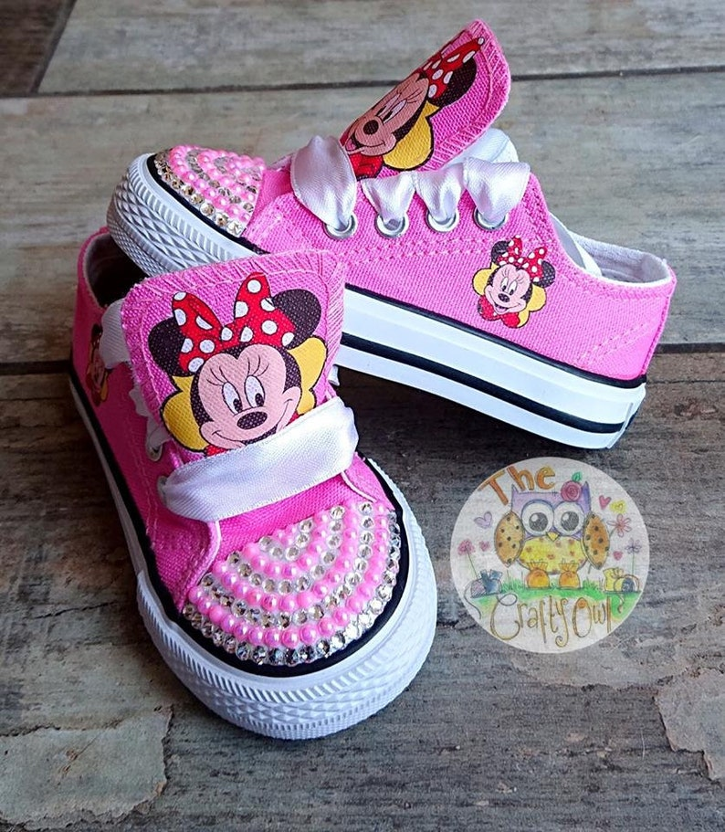 7802ffba2f345 Custom Kids Shoes Minnie Mouse Sneakers Low High Tops Girls Boys Kicks  Pumps Mickey Disneyland Bling