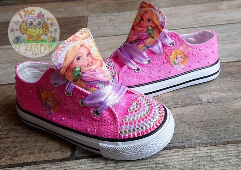 d7fd4e63dc1fa Custom Kids Shoes Tangled Sneakers Rapunzel Low High Tops Personalized  Pumps Bling Kicks Princess Design