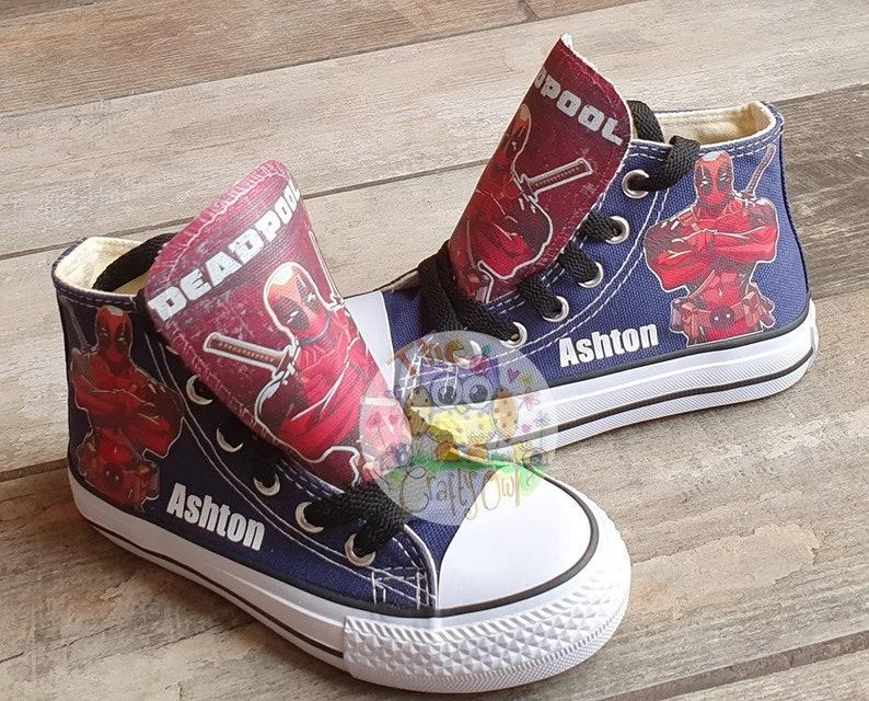 7efa4880f89f1 Custom Kids Shoes Adult Deadpool Sneakers Dead Pool High Tops Superhero Low  Pumps Character