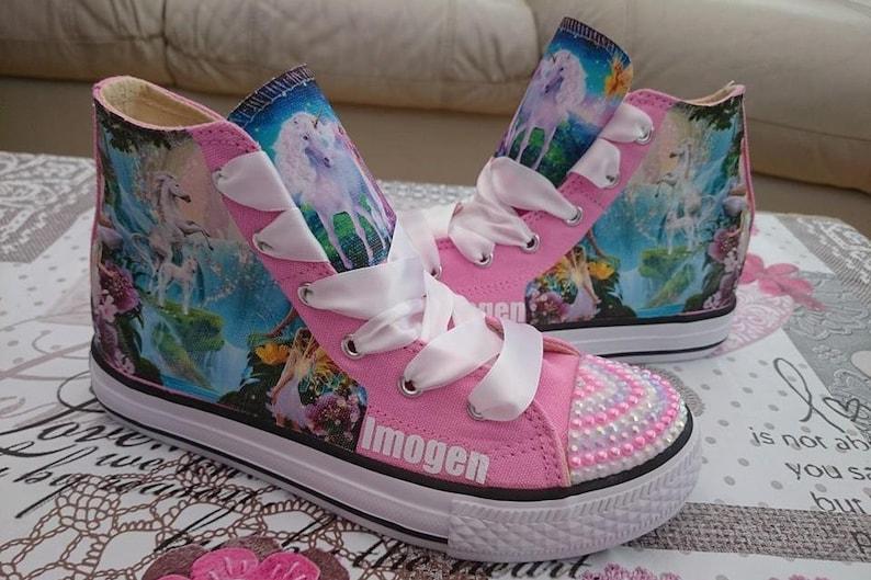 d2a342f24077e Custom Kids Shoes Adult Sneakers Unicorn Fairy Pumps Fairies Kicks Bling  High Tops Low Top