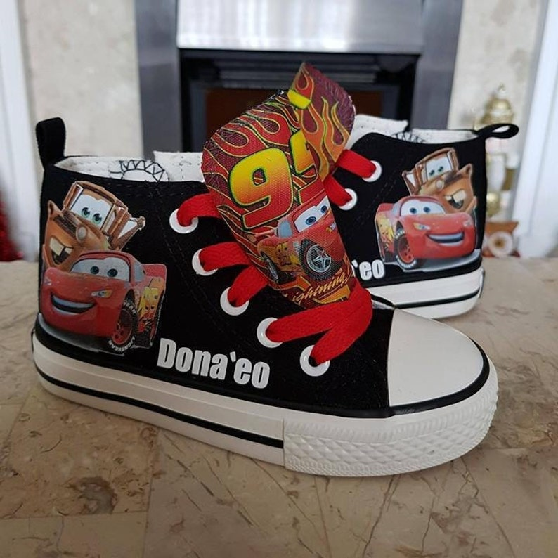 6b020f2efbfd8 Custom Kids Shoes Adult Sneakers Cars Lightning McQueen Mater High Tops Low  Pumps Personalized