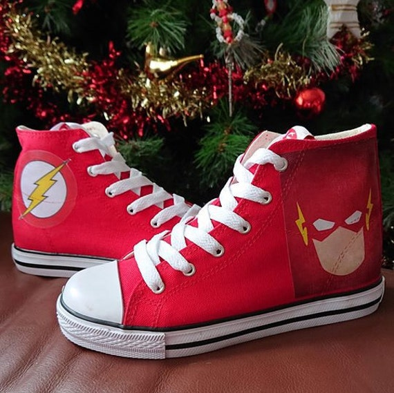 8c804e0cb07a5 Custom Kids Shoes The Flash Adult Sneakers Personalized High Tops Superhero  Marvel Low Pumps