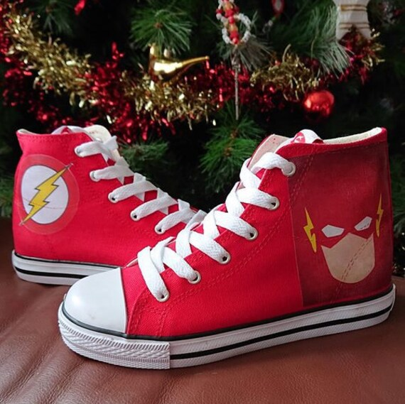 f03f0ec63f8b6 Custom Kids Shoes The Flash Adult Sneakers Personalized High Tops Superhero  Marvel Low Pumps