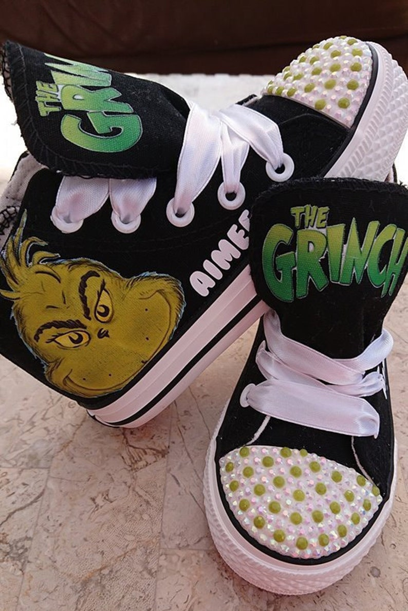 5e9f799c22a0e Custom Kids Shoes The Grinch Adult Sneakers Personalized High Low Tops Pumps