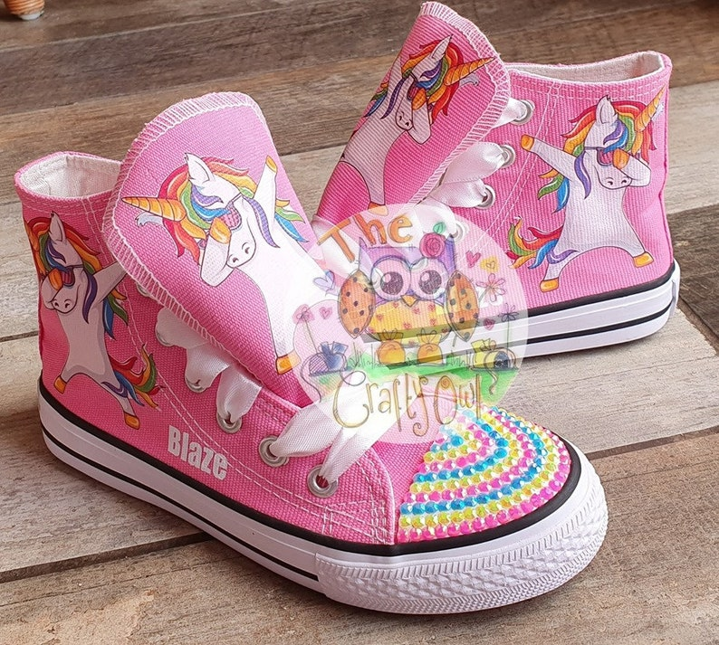 9af175bef68e2 Custom Kids Shoes Sneakers Dabbing Unicorn Horse High Tops Low Pumps Rainbow
