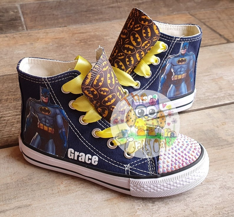 5d86863f22e93 Custom Design Kids Personalized Shoes High Tops Sneakers Batman Low Tops  Superhero Girls Ribbon Bling
