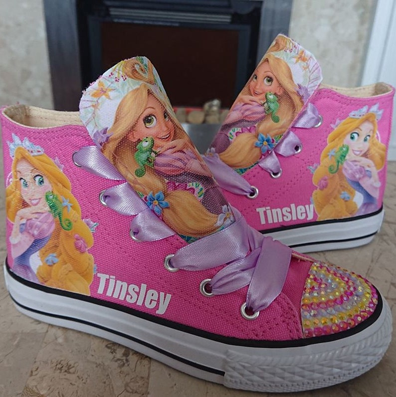 53ccc8af4e0a0 Custom Kids Shoes Adult Sneakers Rapunzel Tangled High Tops Personalized  Low Pumps Kicks Princess