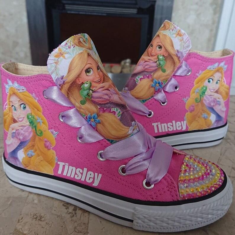 f10837f68861e Custom Kids Shoes Adult Sneakers Rapunzel Tangled High Tops Personalized  Low Pumps Kicks Princess