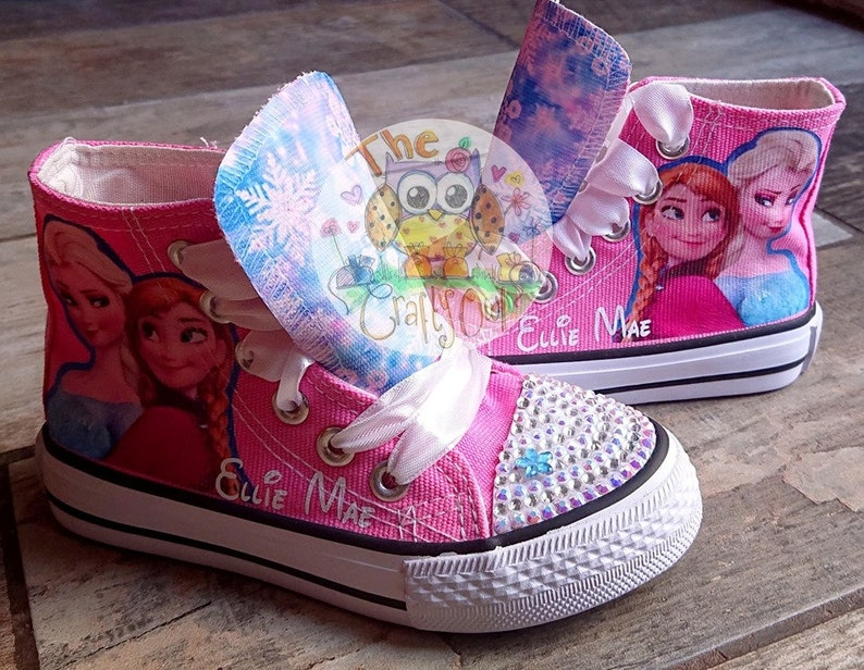 6c5c960fd4f6a Personalised Kids & Adult Frozen High Tops Custom Shoes Low Tops Sneakers  Anna Elsa Pumps Movie