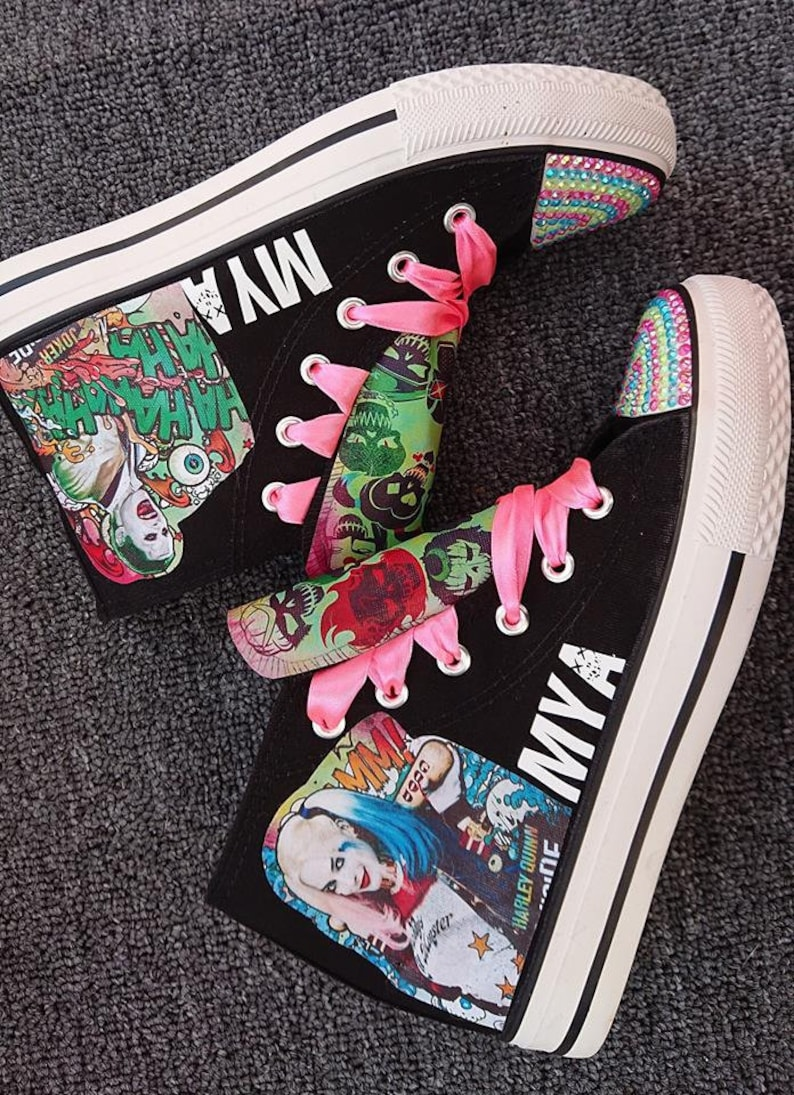 Custom Shoes Kids Adult Harley Quinn Joker Suicide Squad Sneakers Canvas High Tops Low Pumps Personalized Kicks Image