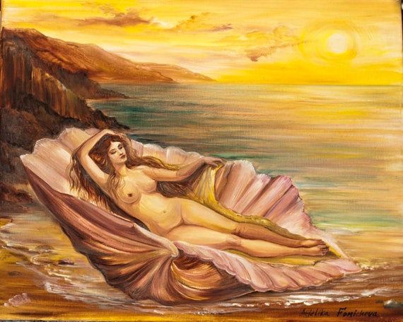 Aphrodite Greek Mythology Art Goddess Oil Painting Naked Woman Fine Art 16 20 By Anjiharmonyart