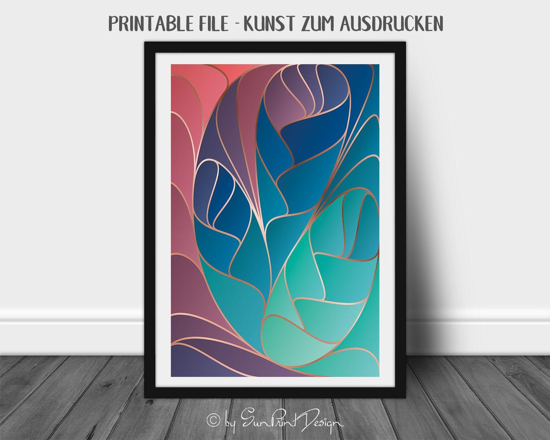 Abstraktes Poster Art Nouveau 02 Als Sofort Download Zum Ausdrucken