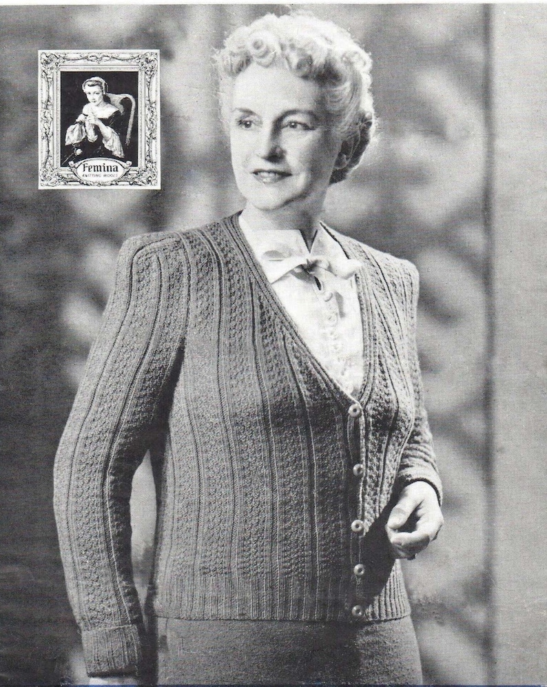 larger sizes PDF Download Vintage 1940s Knitting pattern for a Pretty Ladies Cardigan