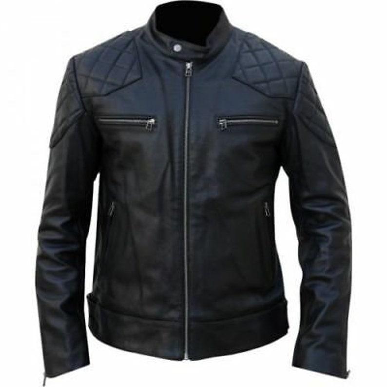 David Bekham Lambskin Quilted Men/'s Black Leather Motorcycle Jacket