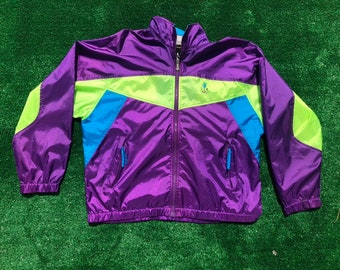 d4c6243c521fc8 Vintage Olympics U.S.A Purple Neon Yellow Blue Womans Medium Sweater Jacket  Windbreaker