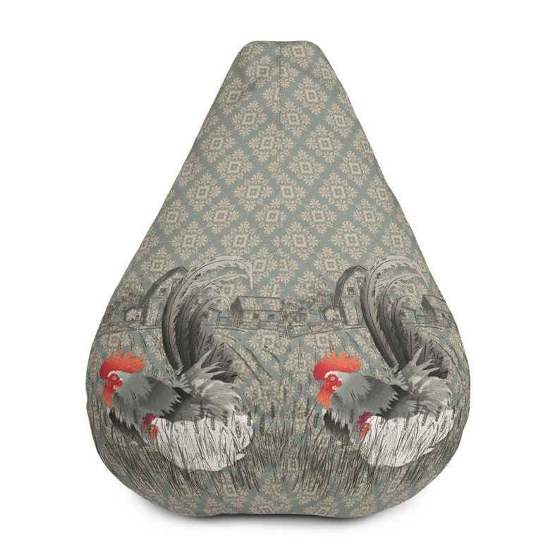 Tremendous Bean Bag Chair W Filling Vintage Rooster Hen Farmhouse Beanbag Chair For Lake Cabin Patio Sun Room Den College Dorm Antique Wallpaper Gmtry Best Dining Table And Chair Ideas Images Gmtryco