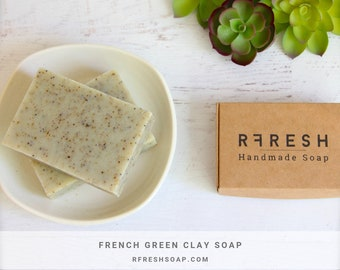 Natural Peppermint + Spearmint Soap with French Green Clay | Handmade Soap by RFRESH | Vegan · Eco-friendly · Zero Waste