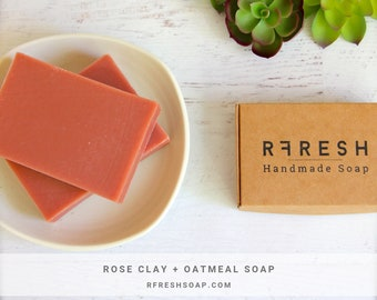 Natural Rose Clay + Oatmeal Soap | Handmade Soap by RFRESH | Vegan · Eco-friendly · Zero Waste · Biodegradable · Cold Process · Unscented