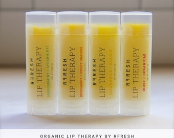 Organic Lip Balm | Lip Therapy by RFRESH |  Unique Flavors · Natural · Organic · Unrefined · Soothing · Moisturizing · Gift for Her