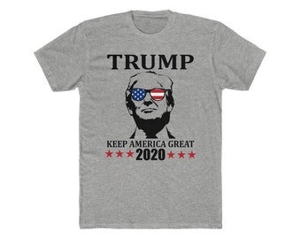 f701899e7 Trump Keep America Great 2020 - Men's Cotton Crew Tee - MAGA - Trump - Donald  Trump Shirt - Trump 2020 - Patriot - Usa Flag - Love Trump