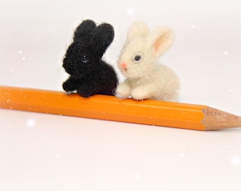Easter bunny Miniature animals  Miniature bunny toy White bunny 1 inch bunny Black bunny Needle felted bunny Bunny rabbit toy  Easter Gift