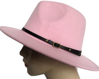 ddbe5ae0a7cbe9 Pink Women Outback Felt Gangster Wool Trilby Fedora Hat Summer Color