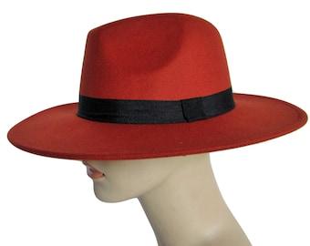 3ab9a375ef2d4 Spring Soft Wool Orange Vintage Style Fedora Hat