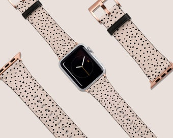 Apple Watch Strap, 40mm 38mm 42mm 44mm, Vegan Leather Watch Band, Pink Pastel Painted Dots Watch Band, iWatch,Watch Band Rose Gold, Gift