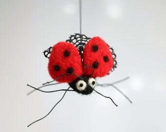 Needle Felted Ladybug - Needle Felt Animals - Ladybird Ornament - Red - Wool - Handmade - Gift Idea - Easter Ornament - Stocking Stuffer