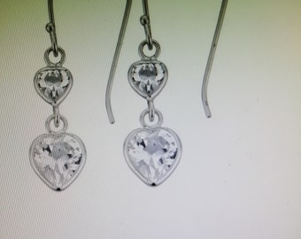 e213637c569d3a Revere Sterling Silver Cubic Zirconia Heart Drop Earrings